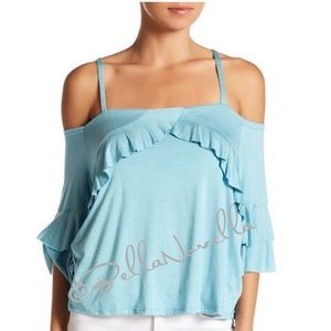Ruffle Sleeve Cold Shoulder Top Dusty Blue